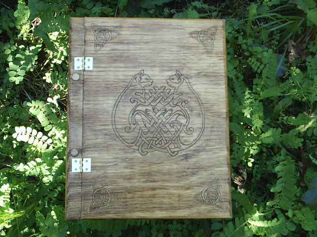 Free Name Engraving on the inside front cover in english or theban on this attractive Celtic Cat Book of Shadows