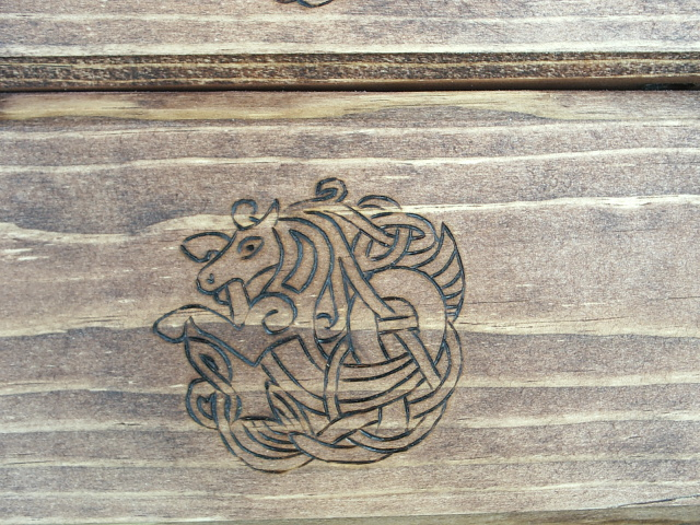 Celtic Horse in tradtion Celt art on bottom drawer.