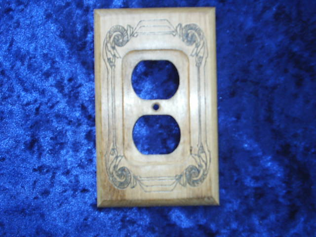 Designer electrical double outlet covers solid wood hand for Last design outlet