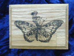 Fairy Riding Butterfly Oak Accent Box
