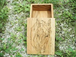 Mustang Horse Oak Accent Box