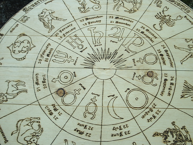 Portable zodiac signs and house tarot card table