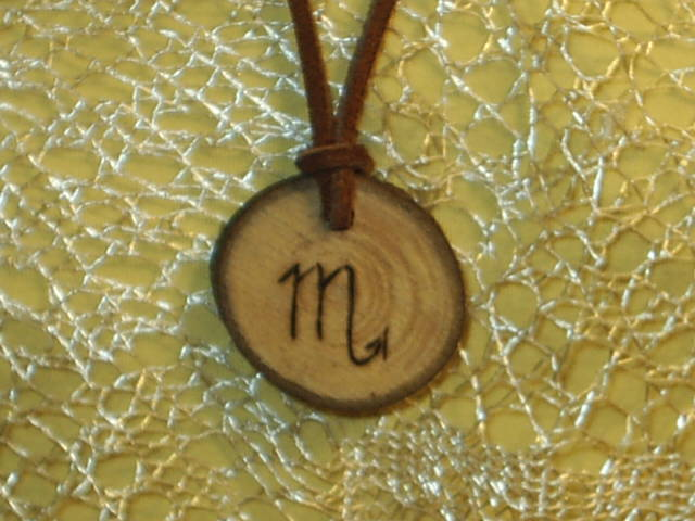 Scorpio Sun Sign Zodiac Astrology Wood Leather Rune Necklace Tribal