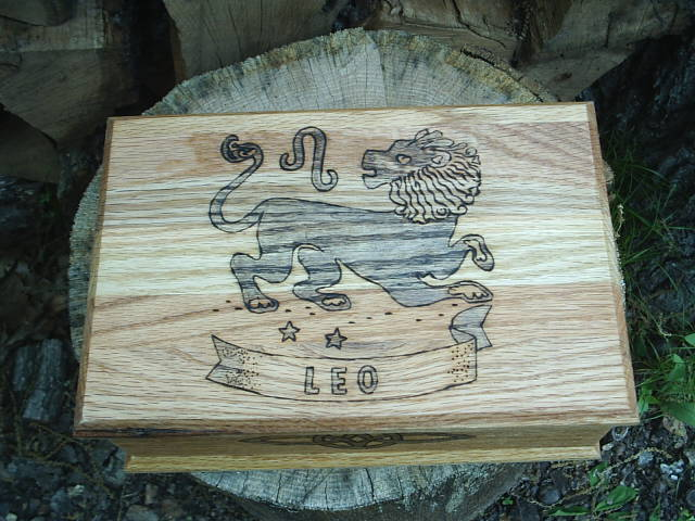 Solid Oak construction on this Leo Zodiac box