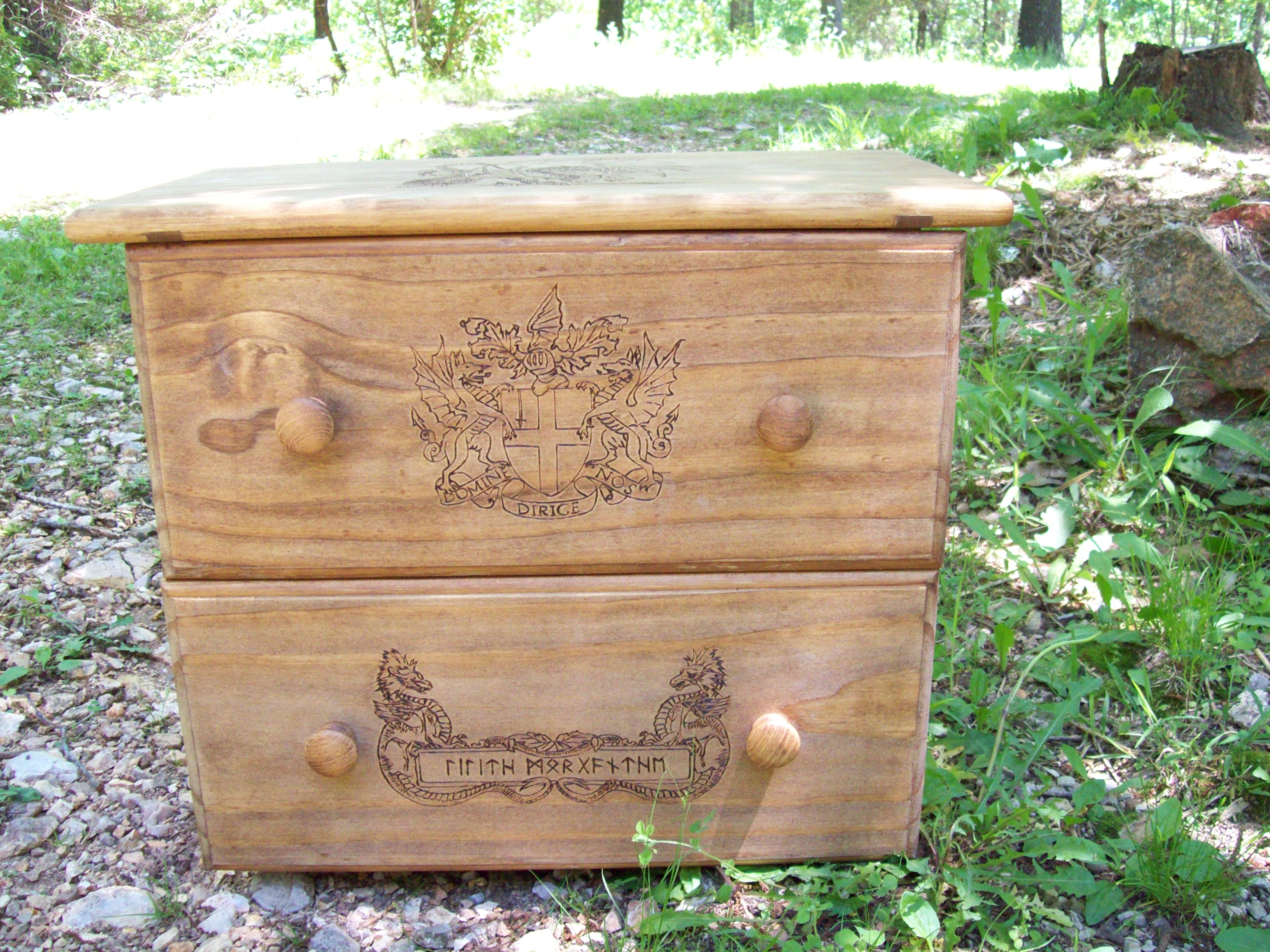 Full top view of this dragon fable chest.