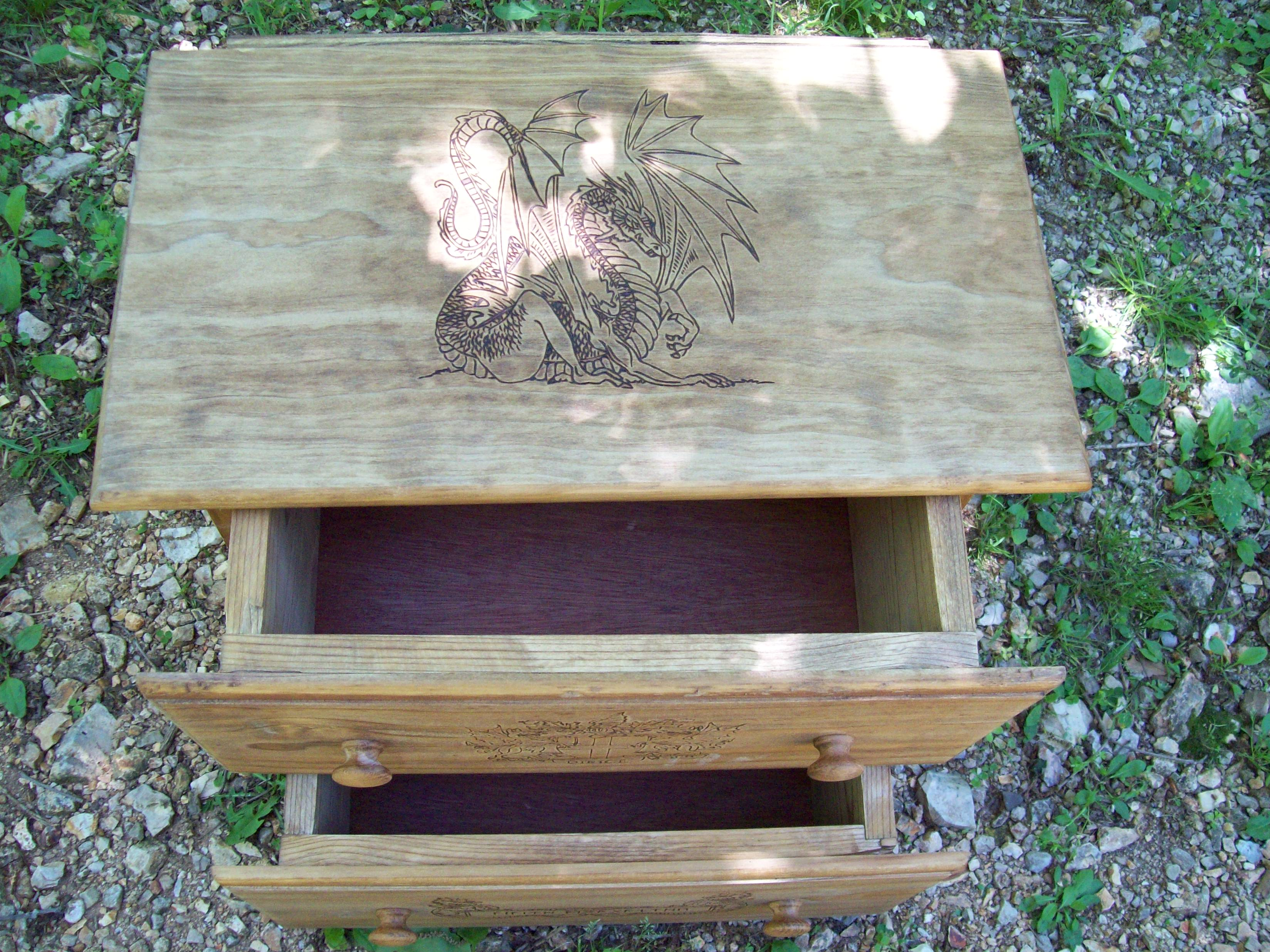 Two full sized drawers on the dragon fable stand.
