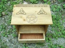 Witches Pentagram and Triquetra Altar with Drawer and Shelf