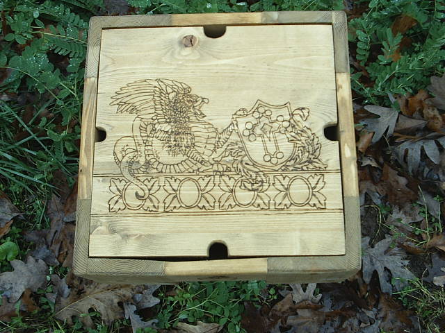 Griffen and Shield wood burned into the fantasy box