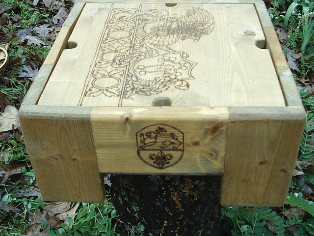 Shield of the lion wood burned into the fantasy box
