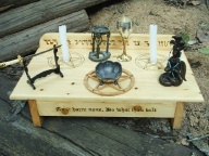 Solid wood wiccan altar